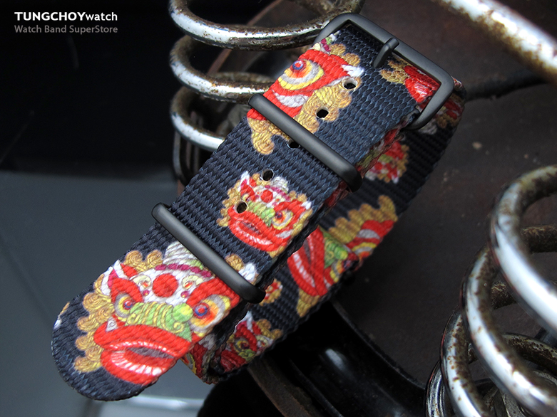 MiLTAT 22mm G10 NATO Watch Strap, Ballistic Nylon Armband, Lion Dance Monogram, PVD Hardware