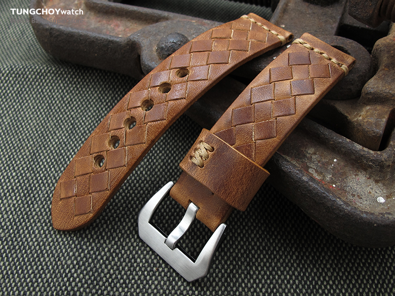 MiLTAT Zizz Collection 22mm Braided Calf Leather Watch Strap, Tawny Brown, Brown Stitches