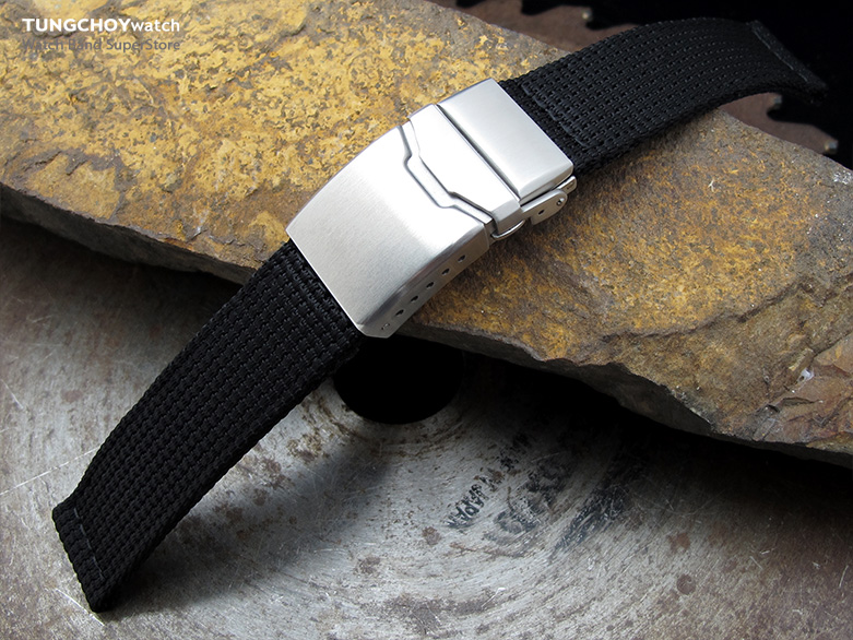 22mm MiLTAT 3D Nylon Black Watch Strap, Brushed Chamfer Clasp with Button