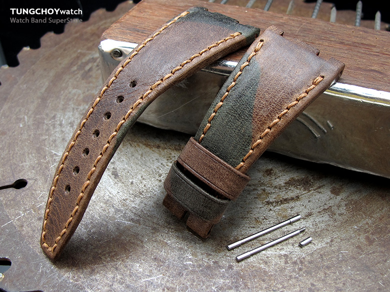 Camo Pattern Leather of Art Watch Strap, Wax thread Brown Stitching, custom made for Audemars Piguet Royal Oak Offshore