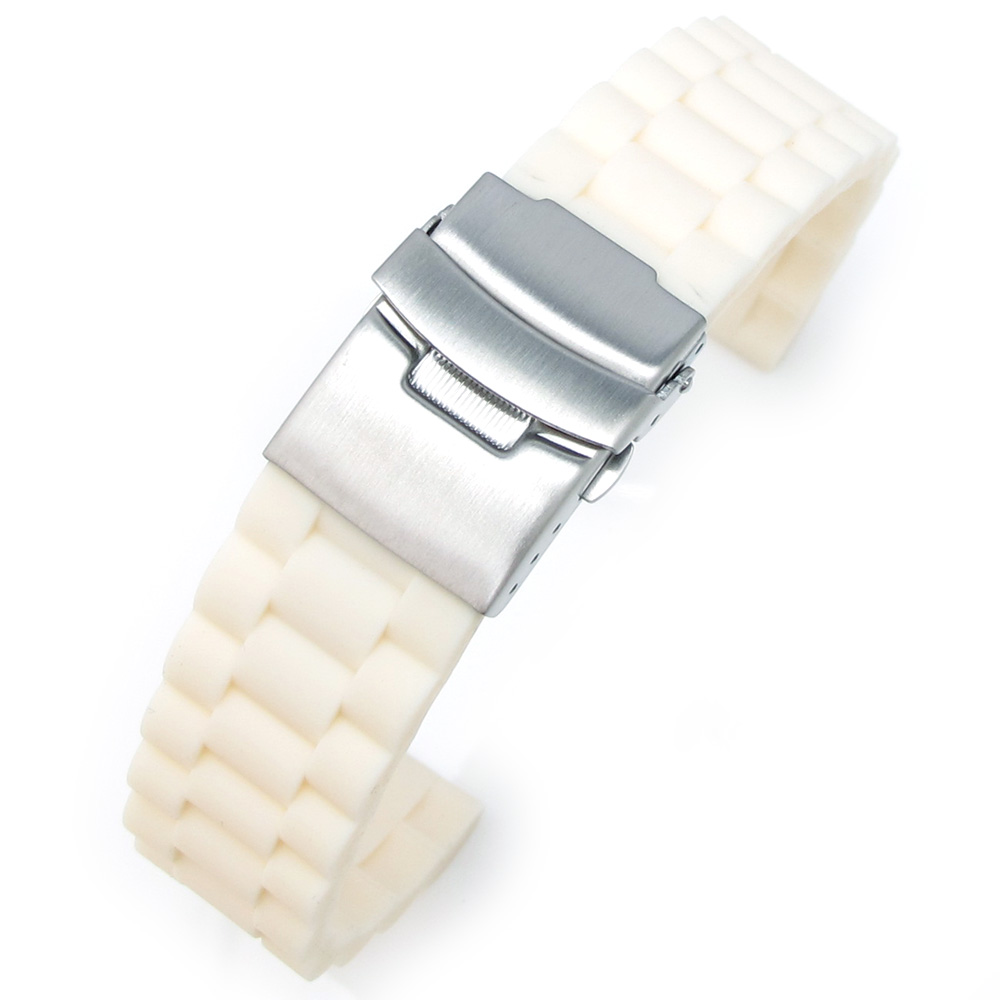 20mm Off White Oyster Style Silicone Watch Band Diver Clasp for Sport Watch Band