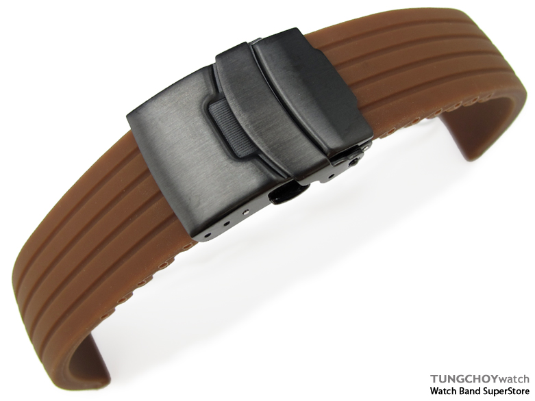 24mm 4 Groove Line Choco Silicon Watch Strap on PVD Black Diver Clasp, B