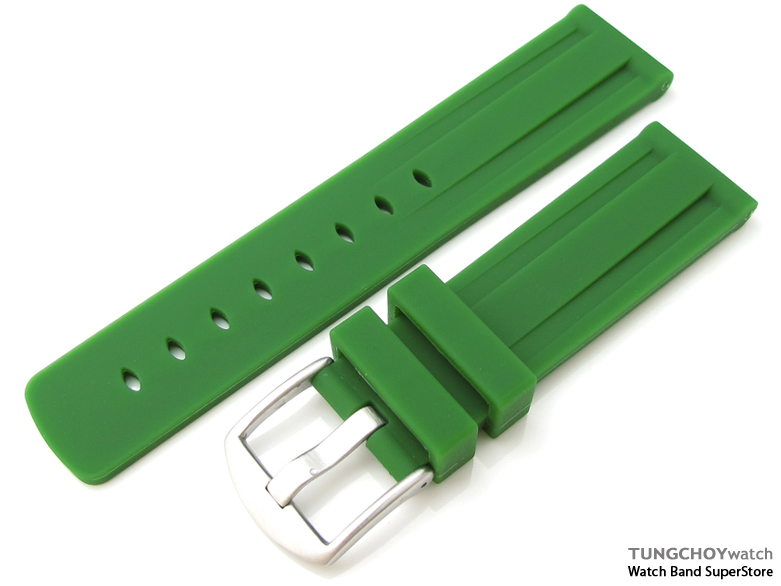 Toughness Silicon Emerald-green Double Groove 22mm Watch Strap, 316L Brushed spring bar type Buckle
