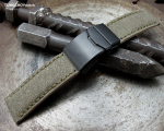 22mm MiLTAT Military Green Washed Canvas Watch Band with Green Wax Stitching, Brushed Button Chamfer Clasp