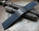 24mm MiLTAT Navy Blue Washed Canvas Watch Band with Dark Grey Wax Stitching, Brushed Button Chamfer Clasp